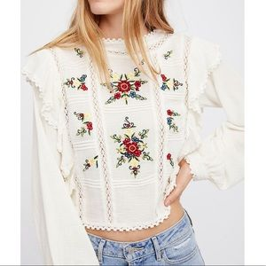 NWT Free People Ruffle Floral Embroidered Blouse